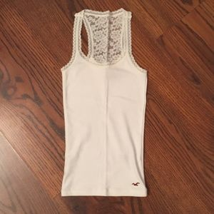 Hollister white lace back tank top